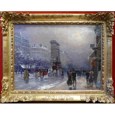 PAVIL Elie Anatole Peinture vue de Paris Les Grands Boulevards Huile sur toile signée