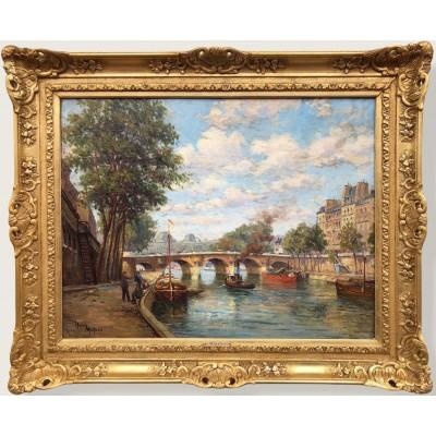 MALFROY Henry Les quais de Seine à Paris Huile sur toile signée